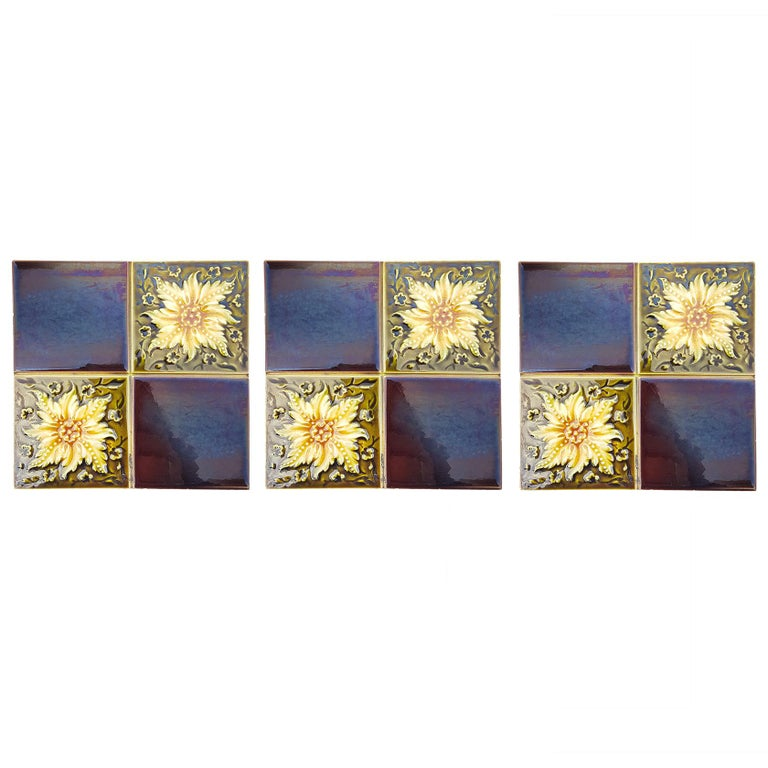 European Panel of 9 Glazed Art Deco Relief Tiles by S.A. Des Pavillions, 1930s For Sale