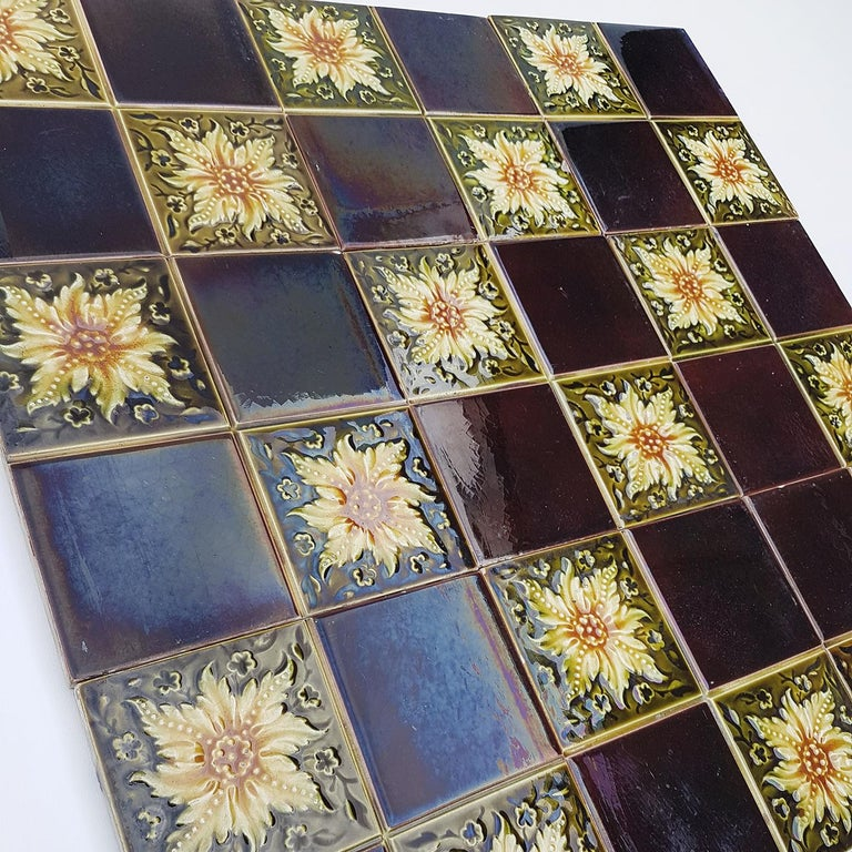 Panel of 9 Glazed Art Deco Relief Tiles by S.A. Des Pavillions, 1930s In Good Condition For Sale In Rijssen, NL