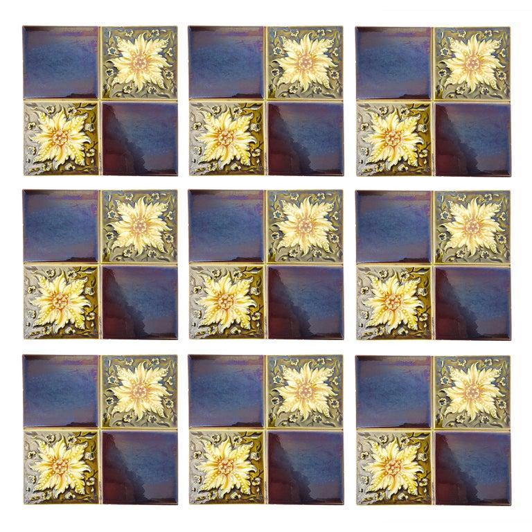 Ceramic Panel of 9 Glazed Art Deco Relief Tiles by S.A. Des Pavillions, 1930s For Sale