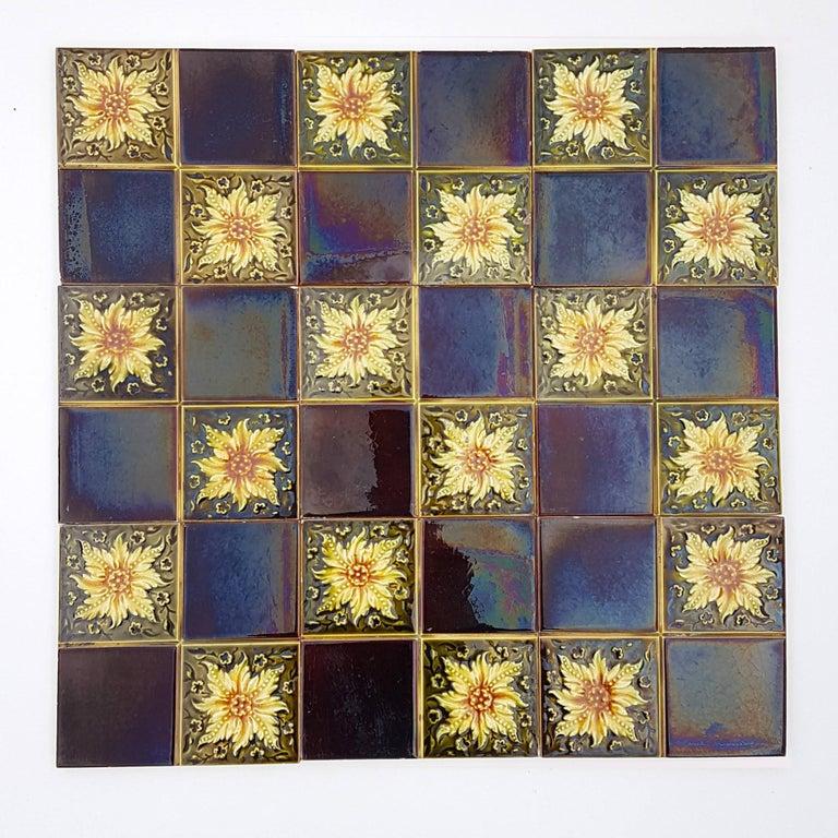 Panel of 9 Glazed Art Deco Relief Tiles by S.A. Des Pavillions, 1930s For Sale 1