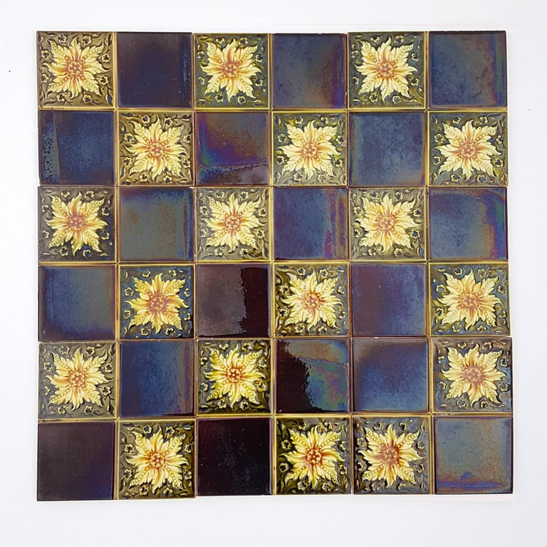 Panel of 9 Glazed Art Deco Relief Tiles by S.A. Des Pavillions, 1930s For Sale 1