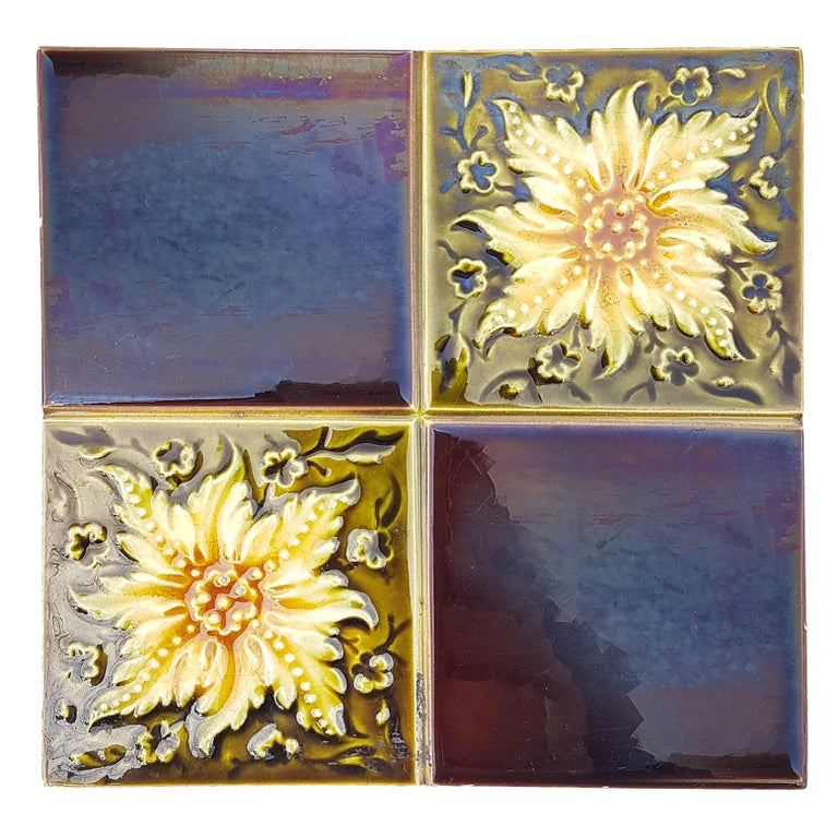 Panel of 9 Glazed Art Deco Relief Tiles by S.A. Des Pavillions, 1930s For Sale 2