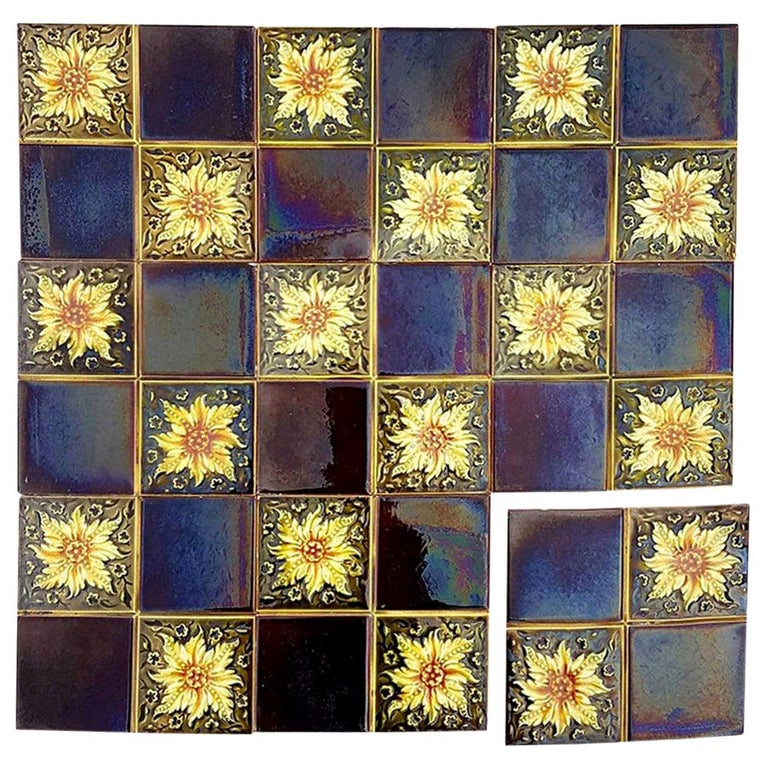 Panel of 9 Glazed Art Deco Relief Tiles by S.A. Des Pavillions, 1930s For Sale