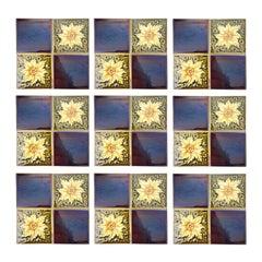 Panel of 9 Glazed Art Deco Relief Tiles by S.A. Des Pavillions, 1930s