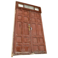 Panelled Double Doors in Top Light Frame, 20th Century