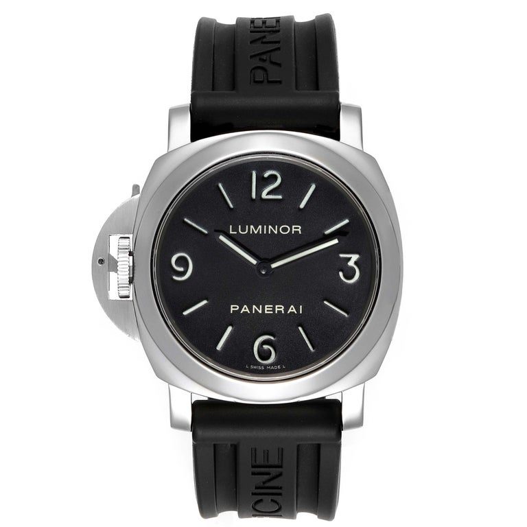 Panerai Luminor Base 44mm Left Handed Watch PAM219 PAM00219. Manual-winding movement. Two part cushion shaped polished stainless steel case 44.0 mm in diameter. Panerai patented crown protector. Exhibition case back. Polished stainless steel sloped