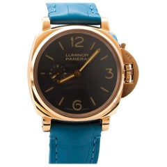 Panerai Luminor Due Limited Edition 18 Karat Rose Gold Blue Alligator Strap