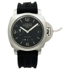 Panerai Luminor GMT 10 Days Power Reserve Steel Black Dial Men's Watch PAM00270