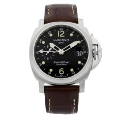 Panerai Luminor GMT Steel Leather Black Dial Date Automatic Men's Watch PAM00244