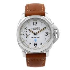 Panerai Luminor Logo Steel Wite Dial Hand-Wind Men's Watch PAM00778