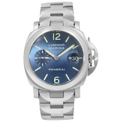 Panerai Luminor Marina Satin Blue Dial Steel Automatic Men's Watch PAM00120