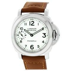 Panerai Luminor Marina Stainless Steel Watch with White Dial PAM00003