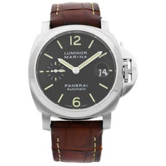 Panerai Luminor Marina Steel Black Dial Automatic Men's Watch PAM00048