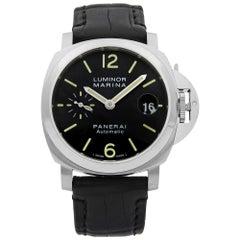 Panerai Luminor Marina Steel Black Dial Automatic Men's Watch PAM00048
