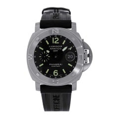 Panerai Luminor Stainless-Steel Submersible GMT Black Diver Watch PAM00186