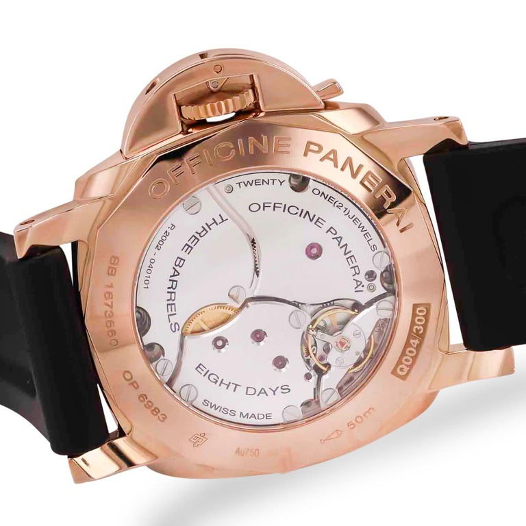 18K rose gold case and bezel Movement:  Hand wind Crystal:  Scratch resistant sapphire Dial: Brown Functions:  GMT, second time zone, date, hour, minute, small second, power reserve indicator, day/night indicator Bracelet: Black rubber strap with18K