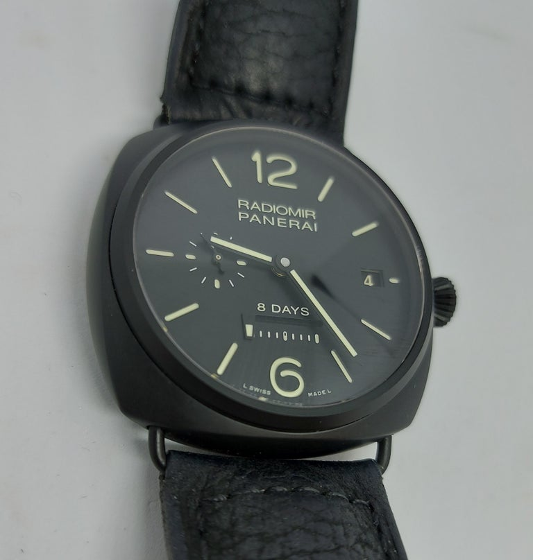 Panerai Pam 384, Radiomir Ceramic Eight Days Power Reserve, 3 Rewinding Barrels In New Condition For Sale In Antwerp, BE