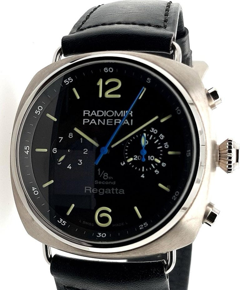 Panerai Pam 384, Radiomir Regatta Limited Titanium Classic Yachts Challenge 2010  Functions: hours, minutes, 1/8th second, chronograph  Case: bezel : polished titanium, case: brushed titanium; sapphire glass, 47 mm diameter. Thickness: 17 mm  Dial: