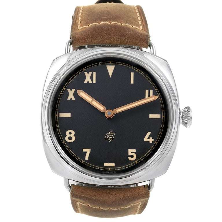 Panerai Radiomir California 47mm 3 Days Power Reserve Watch PAM00424. Manual winding movement. Caliber P.3000. Stainless steel cushion shaped case 47.0 mm in diameter. Exhibition sapphire caseback. Stainless steel sloped bezel. Scratch resistant