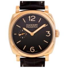 "Panerai Radiomir ""Oro Rosa"" PAM 439 18 Karat Rose Gold Brown Dial Manual Watch"