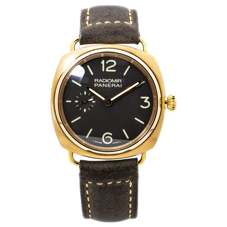 Panerai Radiomir PAM00336 Brown Dial Rose Gold Case Mens Watch with Papers