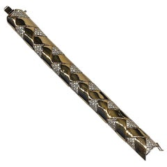 Panetta 1970s Gold & Rhinestones Zig Zag Link Bracelet
