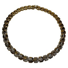 Panetta 1980s Gold & Rhinestone Y Link Necklace