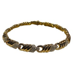 Panetta 1980s Gold Twist & Rhinestone Accent Necklace
