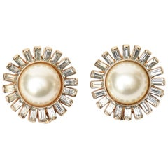 Panetta Clip on Faux Pearl and Rhinstone Pair of Earrings Vintage