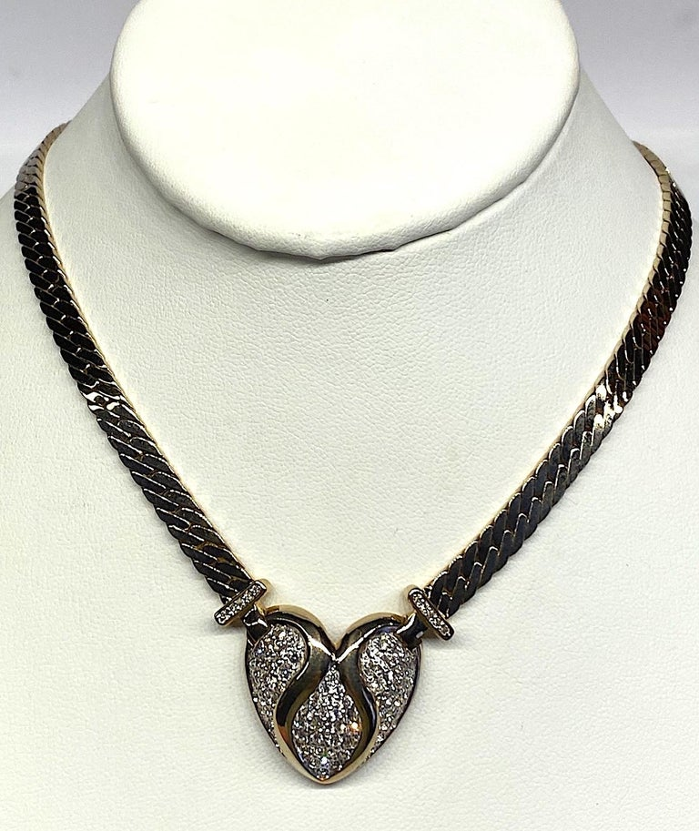 Panetta Gold & Rhinestone Heart Necklace circa 1980 In Good Condition For Sale In New York, NY