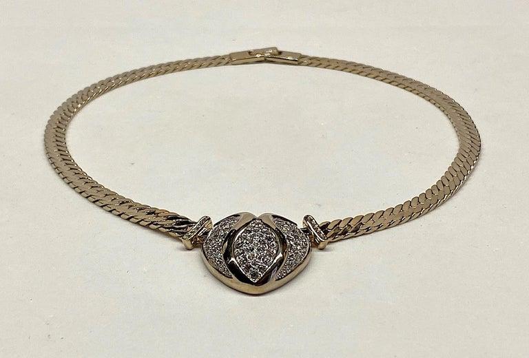 Women's Panetta Gold & Rhinestone Heart Necklace circa 1980 For Sale
