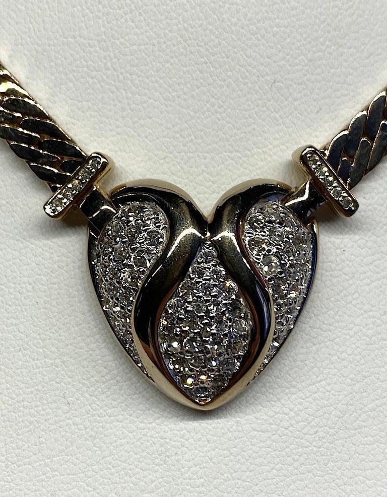 Panetta Gold & Rhinestone Heart Necklace circa 1980 For Sale 1
