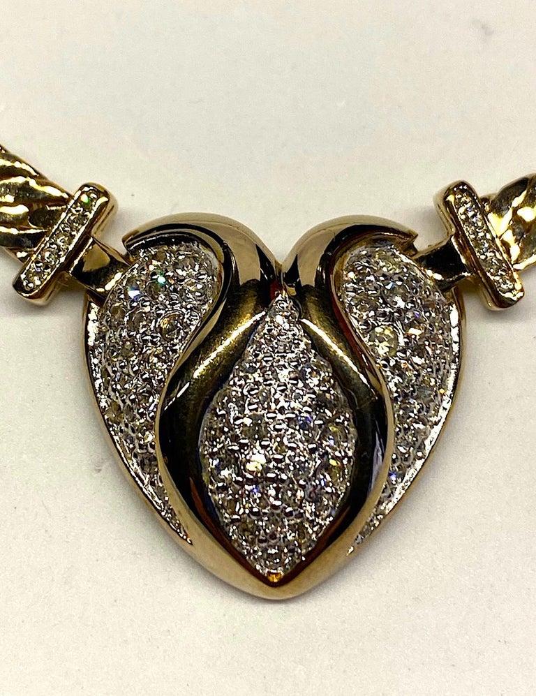 Panetta Gold & Rhinestone Heart Necklace circa 1980 For Sale 4