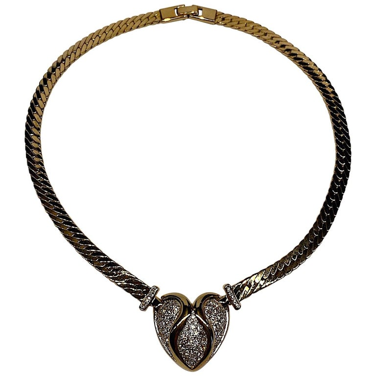 Panetta Gold & Rhinestone Heart Necklace circa 1980 For Sale