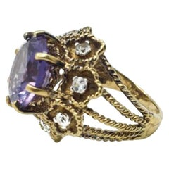Panetta Silver Gilt Vintage Amethyst Glass Cocktail Ring 1960s
