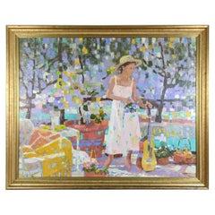 "Pang Jen ""Girl wtih Guitar"" Original Modernist Expressionism Oil Painting"