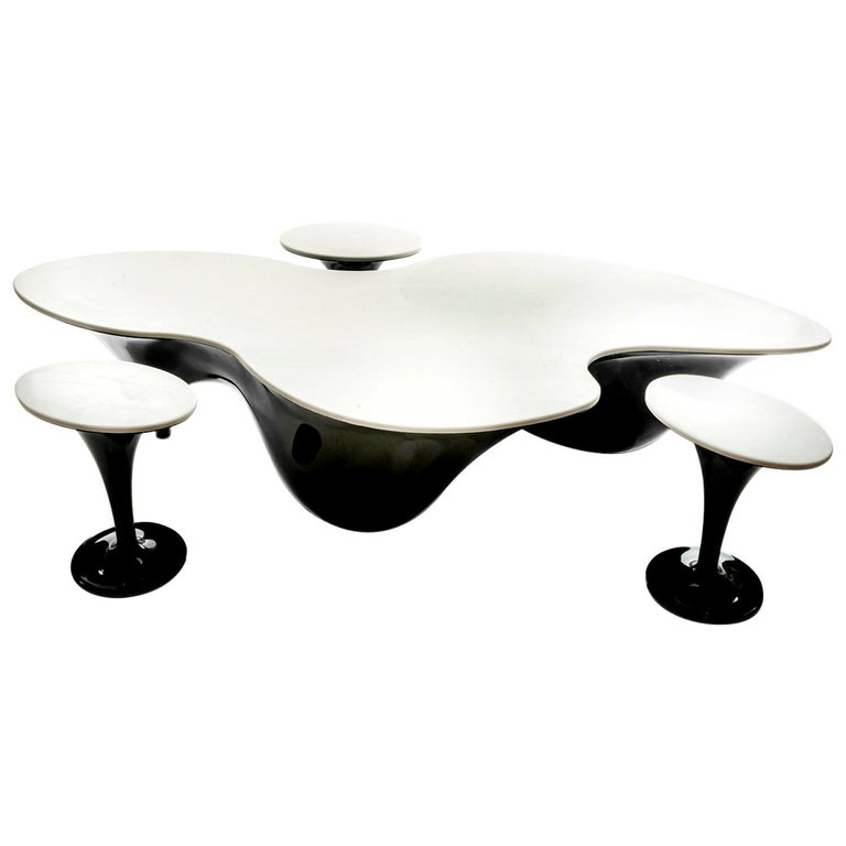 Pangaea Coffee Table in Jet Black/Pearl Grey by Livesay Ether For Sale