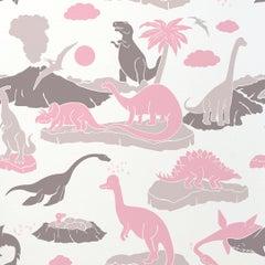 Pangaea Designer Dinosaur Wallpaper in Blush 'Pink, Warm Grey and Brown'