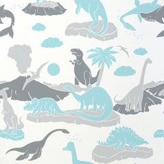 Pangaea Designer Dinosaur Wallpaper in Ice 'Turquoise Blue and Greys'