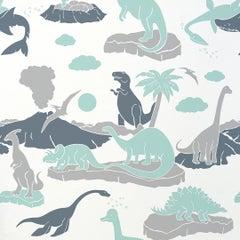 Pangaea Designer Dinosaur Wallpaper in Mineral 'Mint, Grey and Steel Blue'