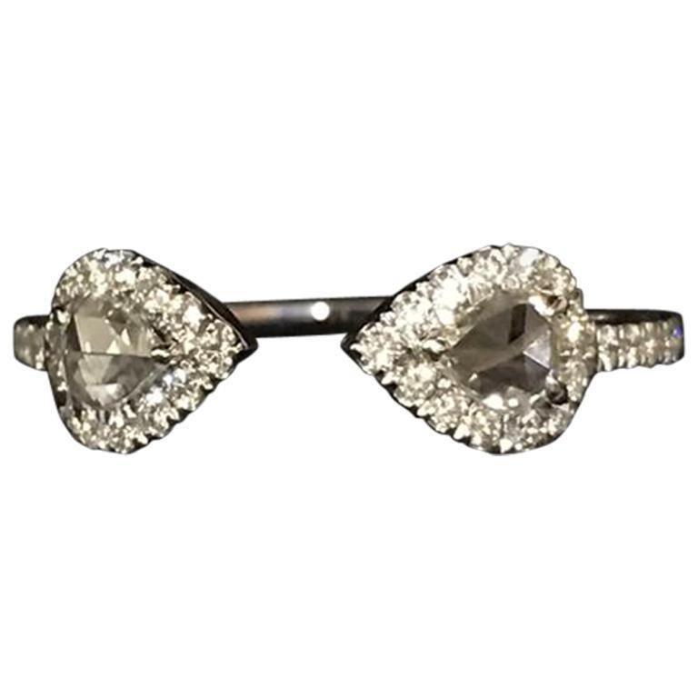 Panim 0.53 Carat Diamond Pear Shaped Rosecut Ring in 18 Karat White Gold