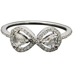 PANIM 0.61 Carat Diamond Rosecut Moi et Toi Ring with  in 18 Karat White Gold