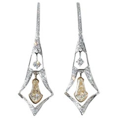 Panim 0.63 Carat Kite Shaped Natural Yellow Color Diamond Earrings in 18K Gold