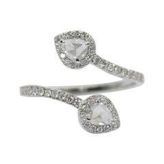 PANIM 0.68 Carat Two Pear Rosecut Diamond Ring in 18 Karat White Gold