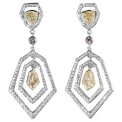 PANIM 0.76 Carat Kite Shaped Diamond Earrings 18 Karat White Gold
