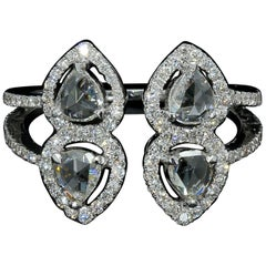 PANIM 0.83 Carat Rosecut Diamond Moi et Toi Ring with in 18 Karat White Gold