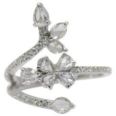 Panim 0.91 Carat Ring with Diamond Rosecut in 18 Karat White Gold