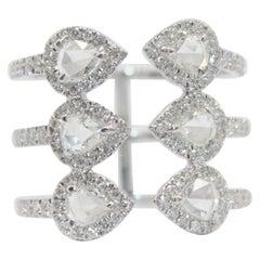 Panim 1.27 Carat Rosecut Diamond Wrap Ring with in 18 Karat White Gold