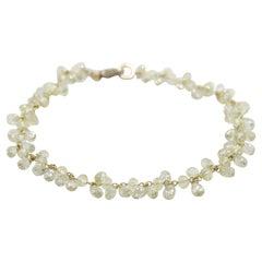 Panim 12.71 Diamond Briolette Yellow Gold Floral Bracelet
