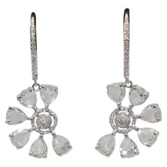 Panim 1.34 Carat Diamond Rosecut Floral 18 Karat White Gold Drop Earrings